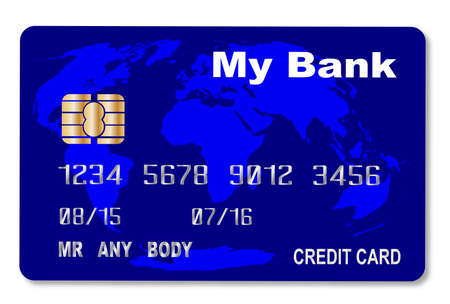 A credit card with map over a white background Vector