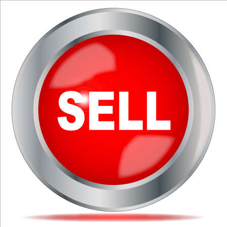 sell shares: A large red sell button over a white background
