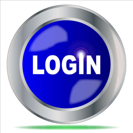 computer instruction: A large blue login button over a white background
