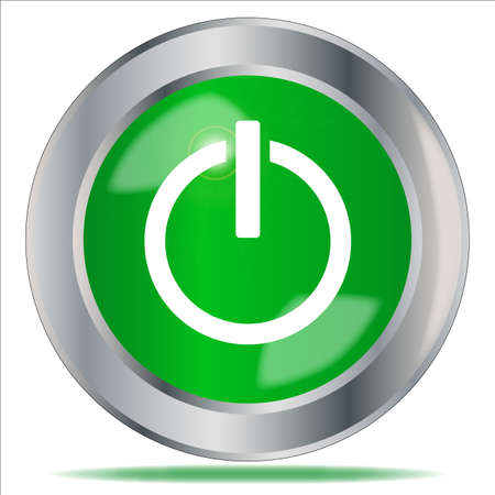 A large green engine start symbol button over a white background