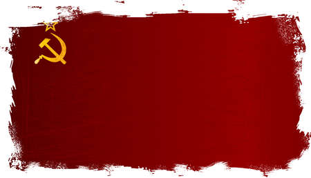 Hammer and Sickle set on a USSR Flag with grunge background faded with reds and black.