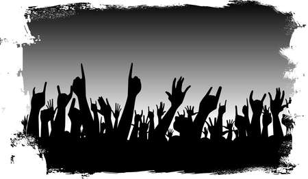 hands in the air: Hands raised in the air at a concert Illustration