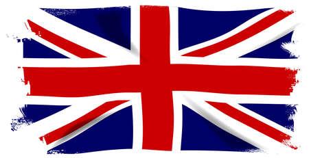 grunge union jack: The British Union Flag, or Union Jack with white grunge border Illustration