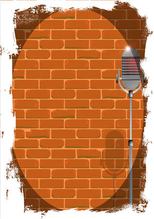 spotlit: A microphone ready on stage against a brick wall with grunge effect Illustration