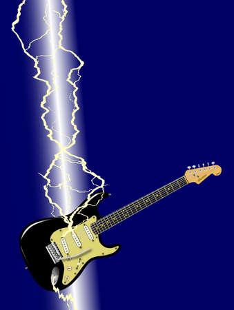 struck: A electric guitar being struck by a lightning bolt
