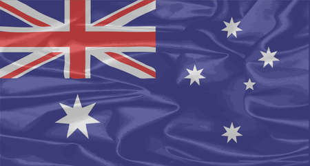 oz: The flag of Australia with silk effect background