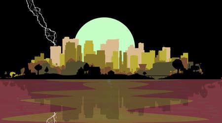 夜空と落雷、水辺の都市  イラスト・ベクター素材
