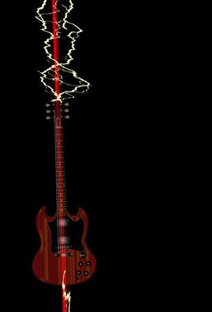 gibson: An electric guitar being struck through by a lightning bolt Illustration