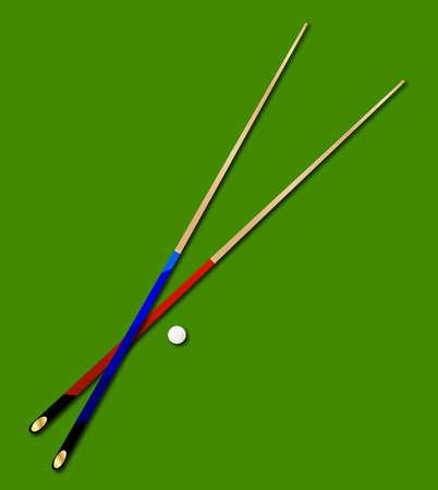 Einsatzzeichen: Ein Paar von typischen Snooker Queues mit einem wei�en Ball auf einem gr�nen Hintergrund