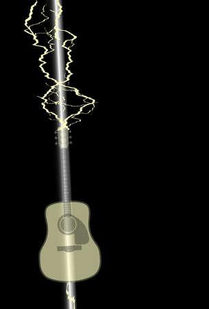 struck: An acoustic guitar being struck by a lightning bolt