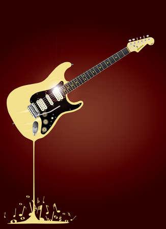 pickups: Una chitarra rock fondere con le note musicali spashing intorno alla base.