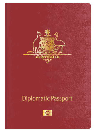 diplomatic: Australian diplomatic travel passport over a white background