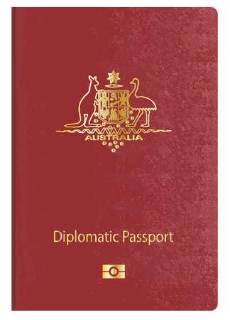 diplomatic: Australian diplomatic travel passport over a white background