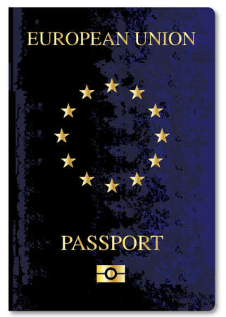 foreign national: European Union travel passport over a white background