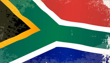 south african flag: The flag of the African country South Africa Illustration