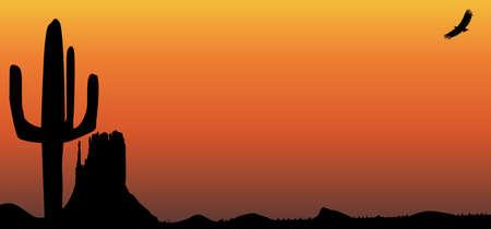 desert sunset: A Texan desert sunset scene with cactus Illustration