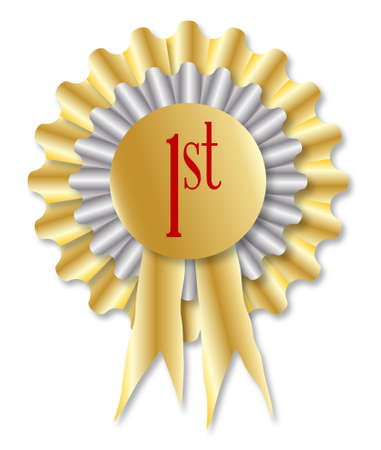 finalist: Gold and silver rosette with the legend 1st over a white background
