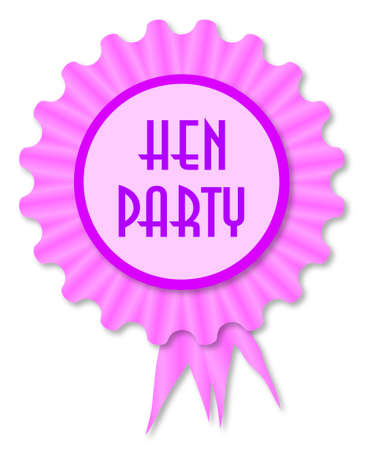 legend: Pink and purple rosette with the legend hen night Illustration