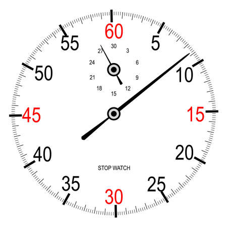 Stip watch face with second hand over a white background Illustration