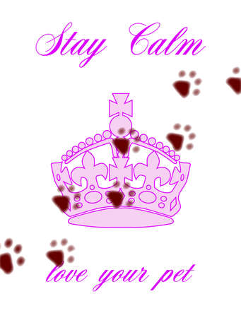 friend  nobody: A pink abstract background with the text Stay Calm And Love Your Pet Illustration