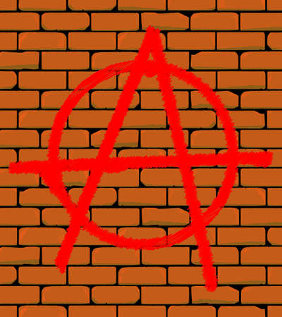 built: Graffiti depicting anarchy sign on a brick built wall. Illustration