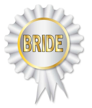 bridesmaid: A white rosette with the legend bride over white Illustration