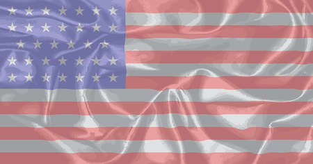 civil war: The Stars and Stripes flag as used by the Union forces during the Amrican civil war. Illustration