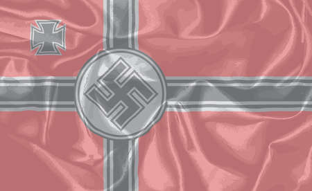 dictatorship: The Nazi silk flag as used in World War two