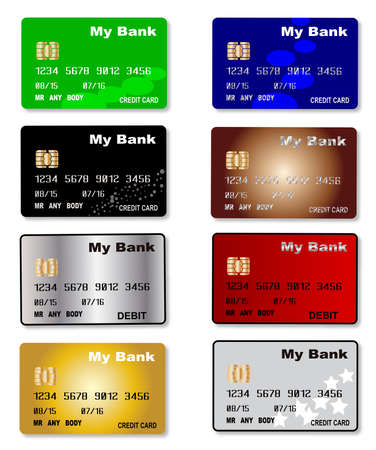 debit cards: A collection of credit and debit cards  over a white background