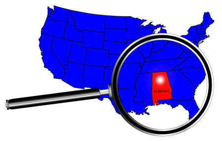 inset: Alabama state outline inset set into a map of The United States of America with magnifying glass