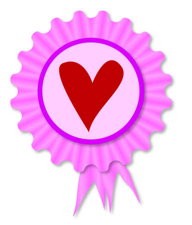 inset: Pink and purple rosette with a red heart inset Illustration