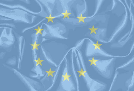 common market: Flag of the European Union with blue background and yellow stars Illustration