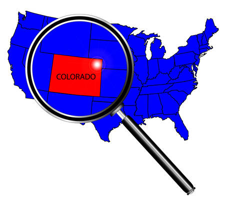inset: Colorado state outline inset set into a map of The United States of America under a magnifying glass Illustration