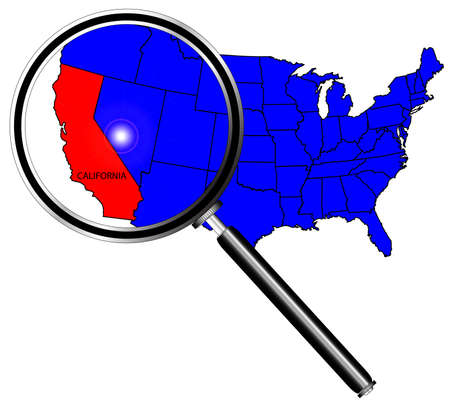 inset: California state outline and icon inset under a magnifying glass
