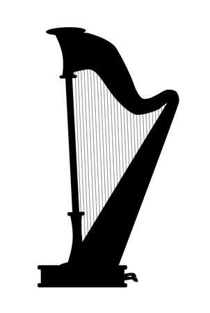 전통적인 콘서트 크기 하프의 실루엣 일러스트