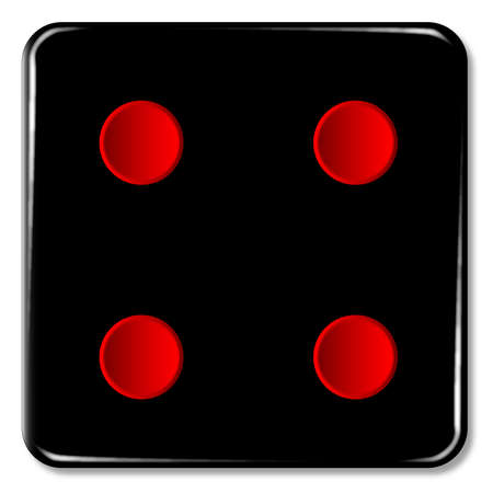 chances: The face of a dice with four red spots over a white background Illustration