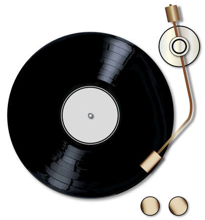 lp: A typical LP vinyl record with a blank labell turning on a record player over a white background.