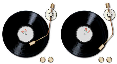 decks: A pair of typical LP vinyl records turning on a pair of record decks over a white background.