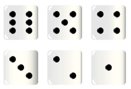 The six faces of an ivory white dice Vectores