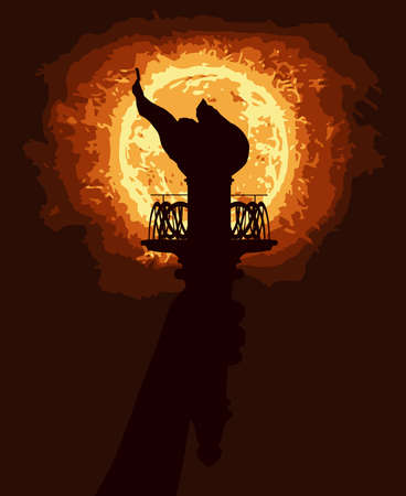 liberty torch: The statue of Liberty torch in silhouette with the light of the sun