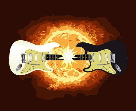 One black and one white electric guitar meeting together at the neck and creating a large flash.