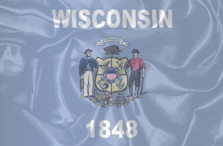 wisconsin: The state flag of the USA state of Wisconsin Illustration
