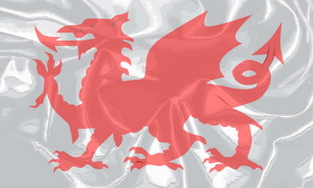 welsh: The Welsh Dragon isolayed over a white background.