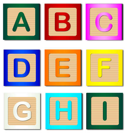 A collection of wooden block letters A to I over a white background
