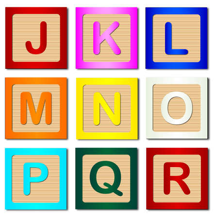 block letters: A collection of wooden block letters J to R over a white background