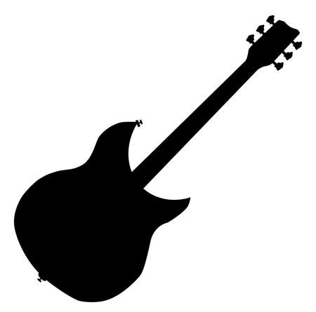stringed: A modern guitar silhouette over a white background Illustration