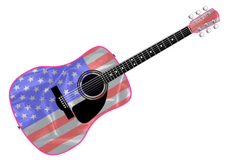 fingerboard: An acoustic guitar with the Stars and Stripes flag isolated over a white background.
