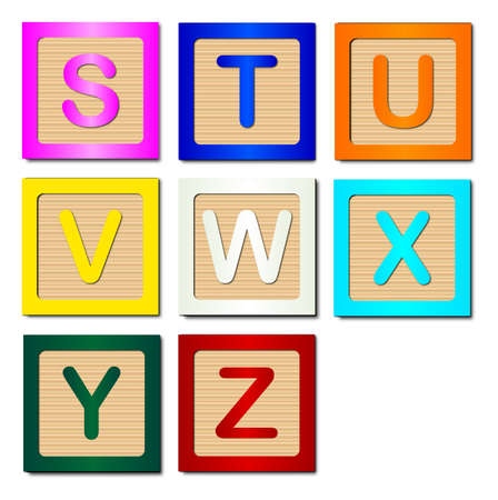 block letters: A collection of wooden block letters S to Z over a white background