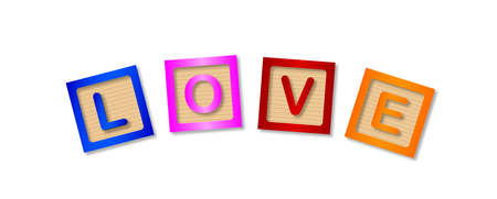 enjoyment: The word love made up from wooden blocks over a white background Illustration