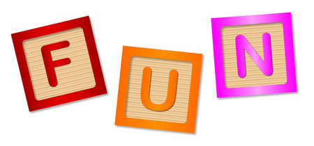 The word fun made up from wooden blocks over a white background